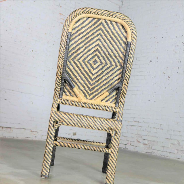 Wicker Two-Tone Chevron Pattern Rattan Wicker Tall Back Chair With Spiral Arms For Sale - Image 7 of 13