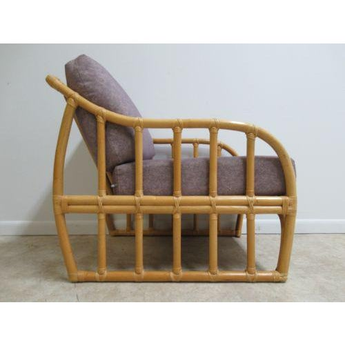 Wood Vintage Ficks Reed Bamboo Rattan Living Room Lounge Chair For Sale - Image 7 of 11