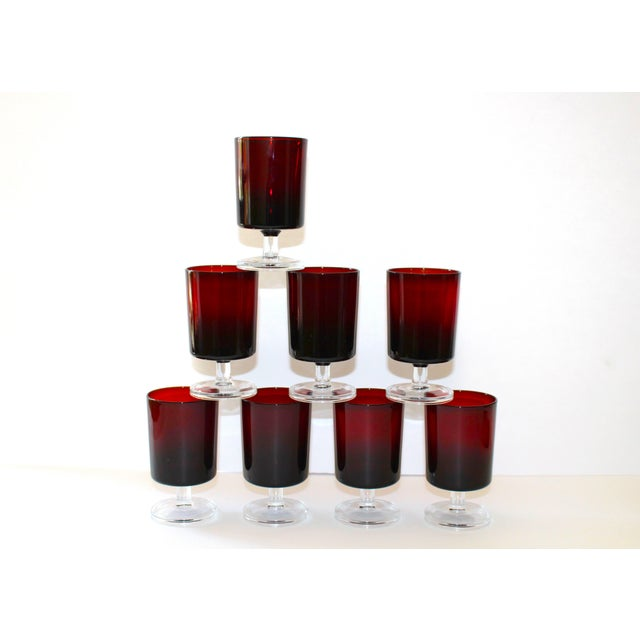 Set of 8 Mid-Century Modern Crystal Wine Glasses in Red, 1960's For Sale - Image 4 of 13