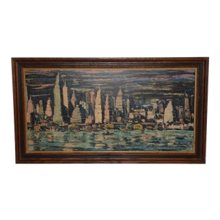 """Mid-Century Modern """"Chicago Skyline"""" Oil Painting C. 1950s For Sale"""