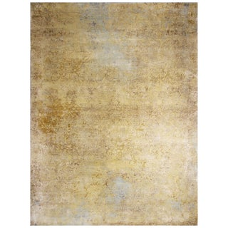 """Contemporary Yellow and Blue Wool and Silk Rug-9'x12"""" For Sale"""