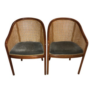 1970s Vintage Ward Bennett for Brickel Associates Cane Chairs- A Pair For Sale