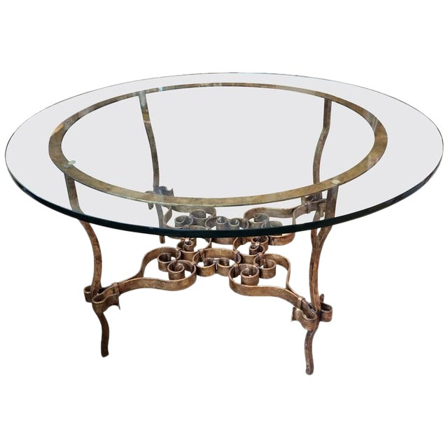 Italian Gilt Metal & Glass Round Table For Sale