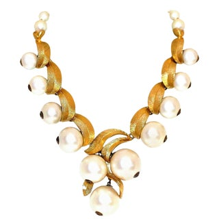 1960 Faux-Pearl Necklace For Sale