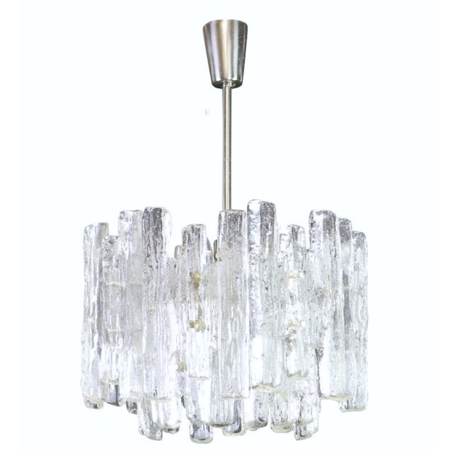 1960s Large Murano Ice Glass Chandelier by Kalmar, Austria, 1960s For Sale - Image 9 of 9