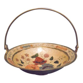 Cloisonné Brass Bowl or Basket With Handle For Sale
