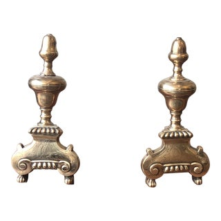 Brass and Iron Fireplace Andirons - a Pair For Sale