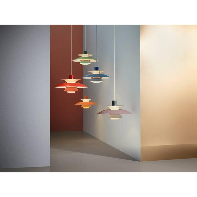 Poul Henningsen PH 5 Pendant for Louis Poulsen in Red. Poul Henningsen introduced his iconic PH 5 pendant light in 1958....