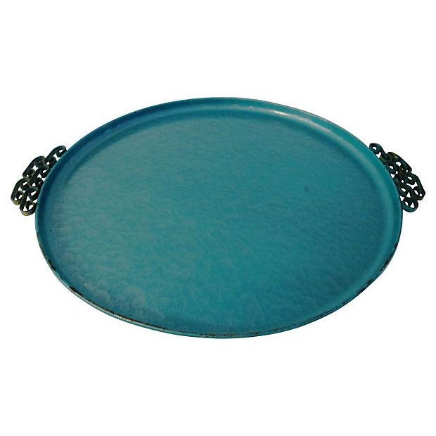 Midcentury Kyes Moiré Caribbean Green Tray - Image 3 of 5