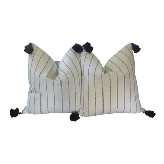 "Boho Chic Threaded Way Striped Blue and White Throw Pillows - a Pair, 22""x22"" For Sale"