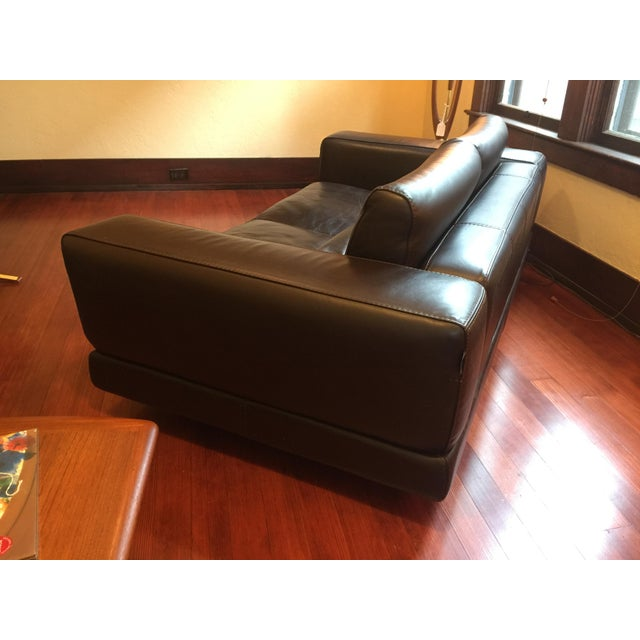 Roche Bobois Low Profile Leather Loveseat - Image 8 of 11