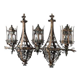 Monumental Maitland Smith Gothic Iron Chandelier For Sale