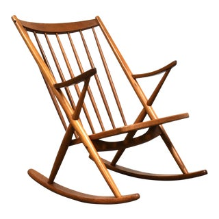 Frank Reenskaug Danish Teak Rocking Chair For Sale