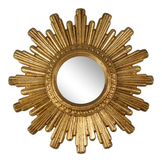 Petite French Gilt Sunburst Convex Mirror For Sale