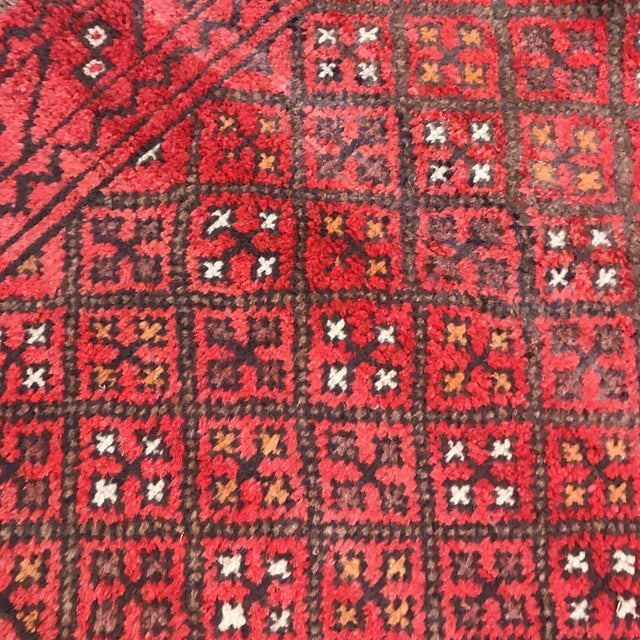 """1980s Patterned Afghan Wool Rug - 3'6"""" X 5'8"""" For Sale - Image 5 of 13"""