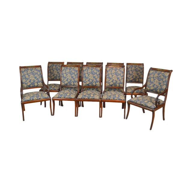 Henredon Natchez Collection Set of 10 Mahogany Regency Style Dining Chairs For Sale