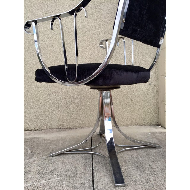Mid-Century Chrome Swivel Chairs- Set of 6 - Image 8 of 11