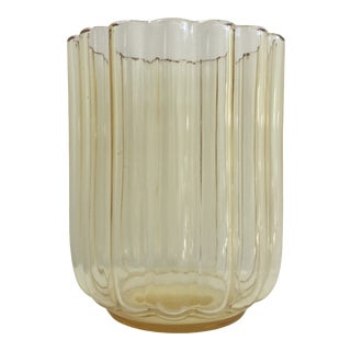 "George Sakier for Fostoria Glass Company Gold ""Lotus"" Vase For Sale"