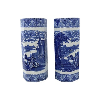 Large Antique Chariot Transferware Vases - C. 1900, a Pair For Sale