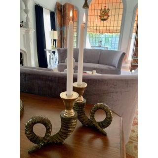 Pair Bronze Horn and Brass Candlesticks Preview