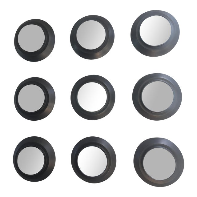 Industrial Circular Metal Wall Mirrors- Set of 9 - Image 1 of 6