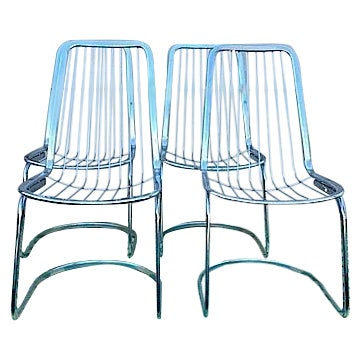 Cidue Vincenca Chrome Wire Chairs - Set of 4 For Sale