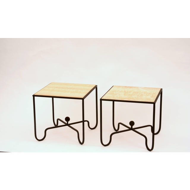 Pair of 'Entretoise' wrought iron and onyx side tables by Design Frères. Great as end tables or as a two-part coffee...