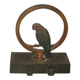 Image of Antique Cast Iron Door Stop With Parakeet For Sale