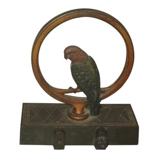 Antique Cast Iron Door Stop With Parakeet For Sale