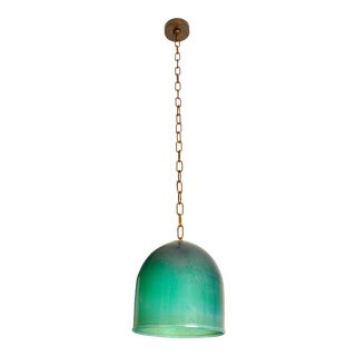 Emerald Glass Pendant Lamp by Venini, Italy 1985 For Sale