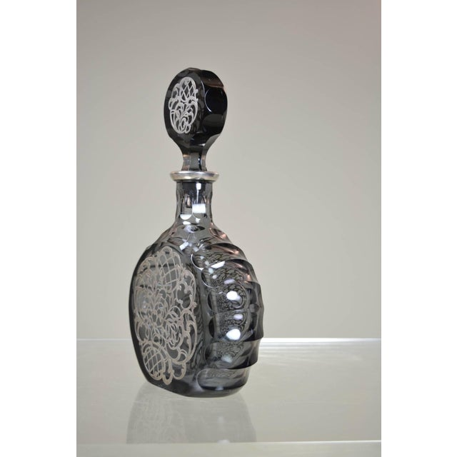 Traditional Silver Decorated Crystal Decanter For Sale - Image 3 of 8