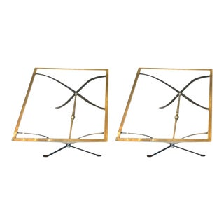 Mid Century Bronze and Glass Side Tables - a Pair For Sale
