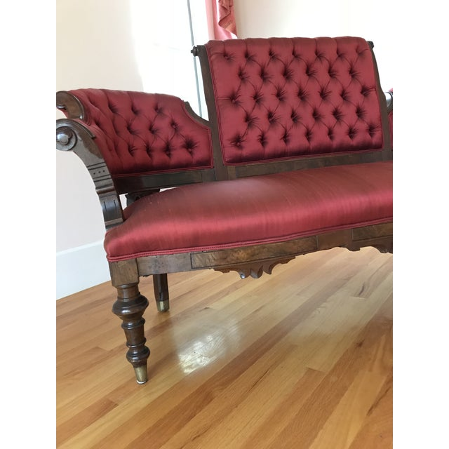 Traditional 1900s Antique Mahogany Silk Settee For Sale - Image 3 of 7