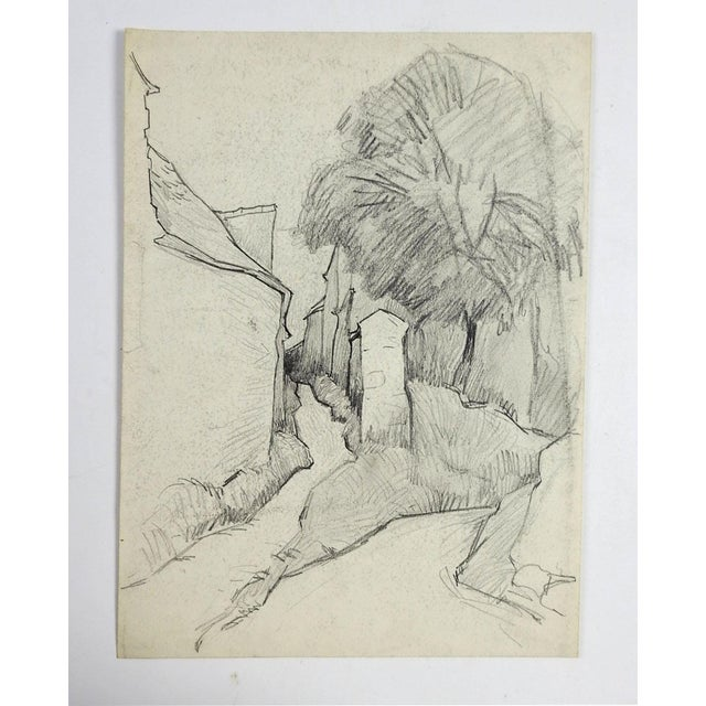 This is a pencil study of a stone walled village by George Baer (American 1895-1971). Unframed. Age toning. From the...