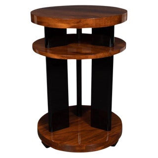Art Deco Machine Age Three-Tier Bookmatched Walnut and Black Lacquer Side Table For Sale