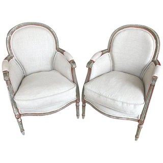 1940s French Painted and Upholstered Bergere Chairs - a Pair For Sale