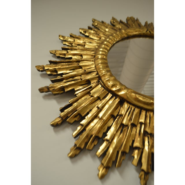 Belle Epoque Gold Leaf Gilded Wood Sunburst Mirror, France Circa 1920 For Sale - Image 3 of 9