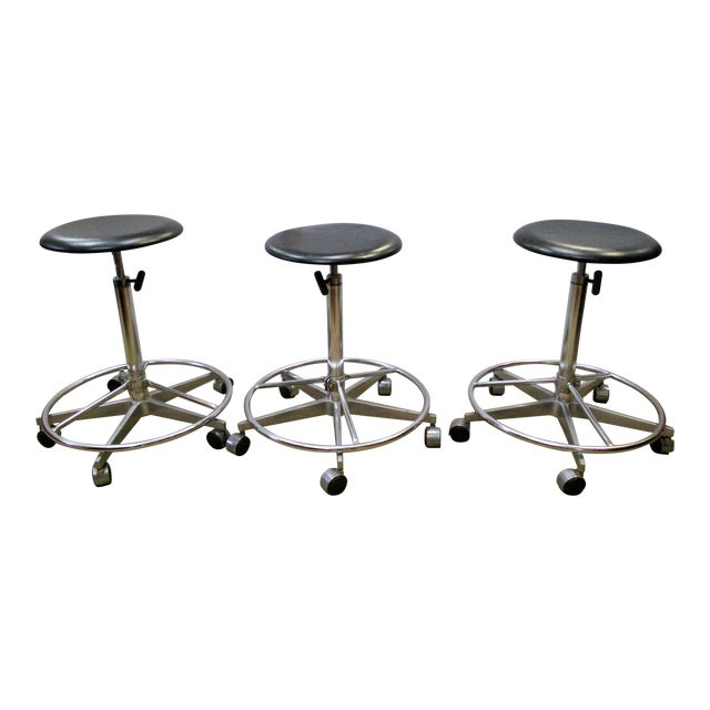 Industrial Adjustable Metal Rolling Stools - Set of 3 - Image 1 of 4
