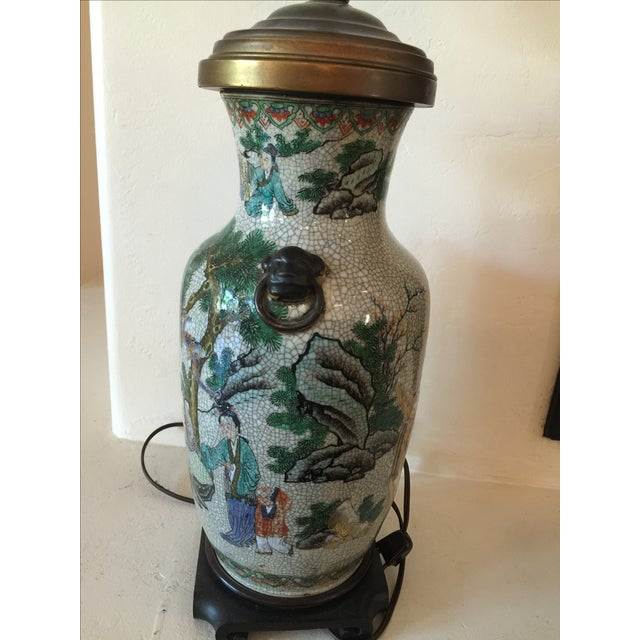 Vintage Asian Table Lamp With Wooden Base For Sale - Image 5 of 11