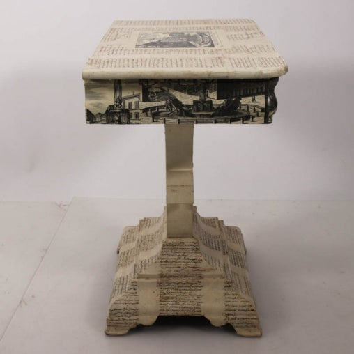Empire style decoupage game table that features illustrations and calligraphy. Please note of wear consistent with age.