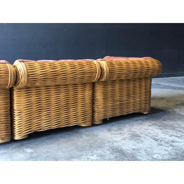 1970s Rattan 4 Piece Modular Sofa For Sale - Image 5 of 13