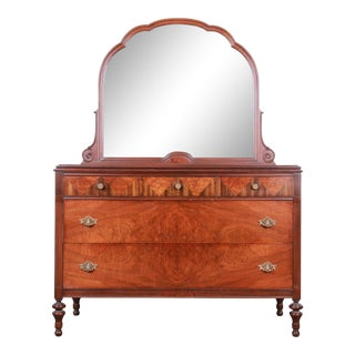 Antique Burled Walnut Dresser With Mirror Attributed to Baker Furniture, Circa 1920s For Sale