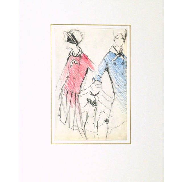 Original Balmain Dress Suit Fashion Sketch 1960 - Image 4 of 4