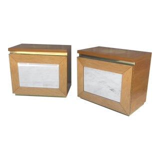 Pair Boho Modern Bamboo Front Nightstands For Sale