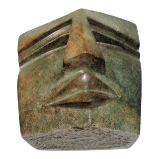 Vintage Cubist Green Stone Face Bust Head Sculpture For Sale