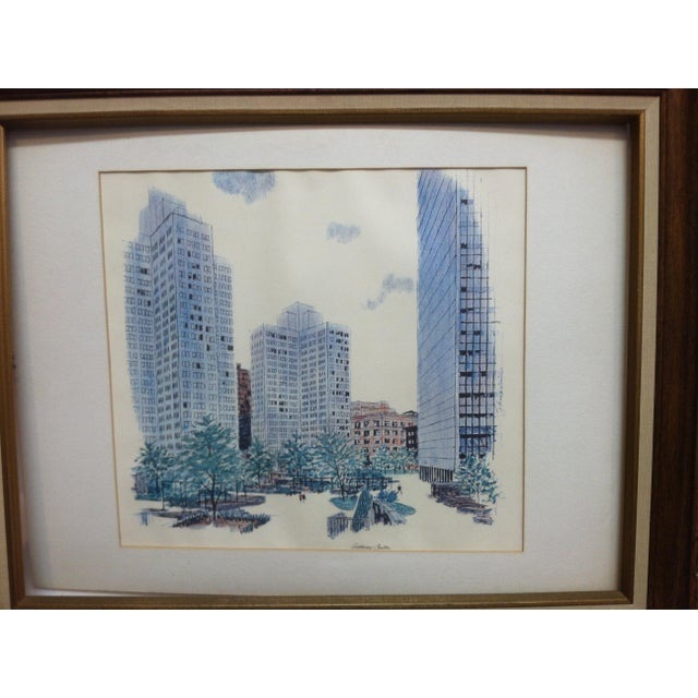 """This is a Framed and Matted Original Print showing """"Gateway Center"""" in Pittsburgh, Pennsylvania. The Print is dated 1970..."""