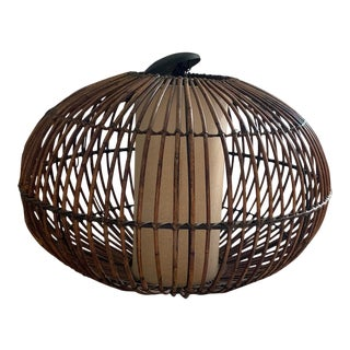 Franco Albini Style Large Rattan Chandelier For Sale