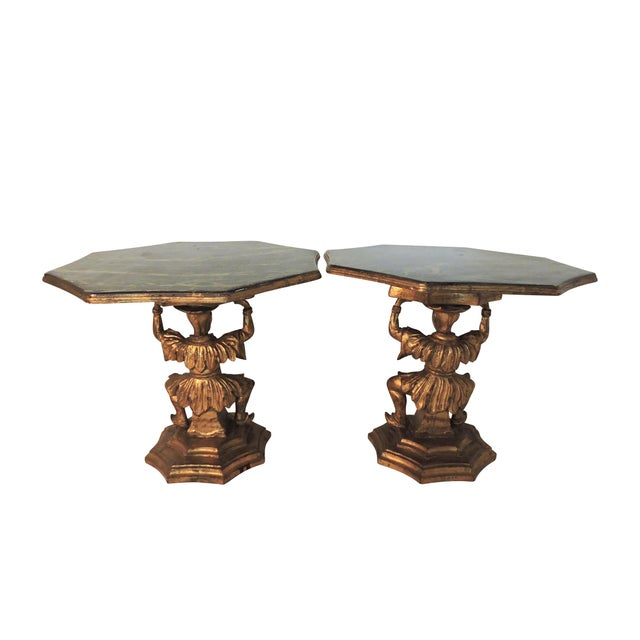 Antique Figural Italian Gilt Figural 'Chinoiserie' Side / End Tables by Fratelli Paoletti (Early 20th. Century), a Pair For Sale - Image 4 of 11