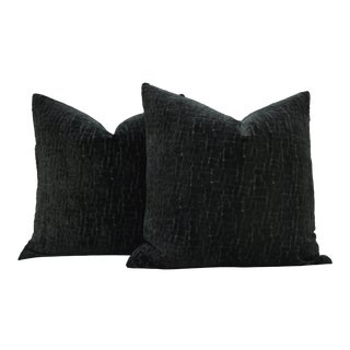 "Pair of Custom 26"" Cut Velvet Midnight Emerald Pillows For Sale"