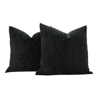 """Pair of Custom 26"""" Deep Forest Green Cut Velvet Pillows For Sale"""